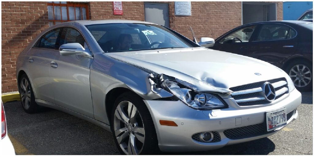 An automobile in need of collision repair