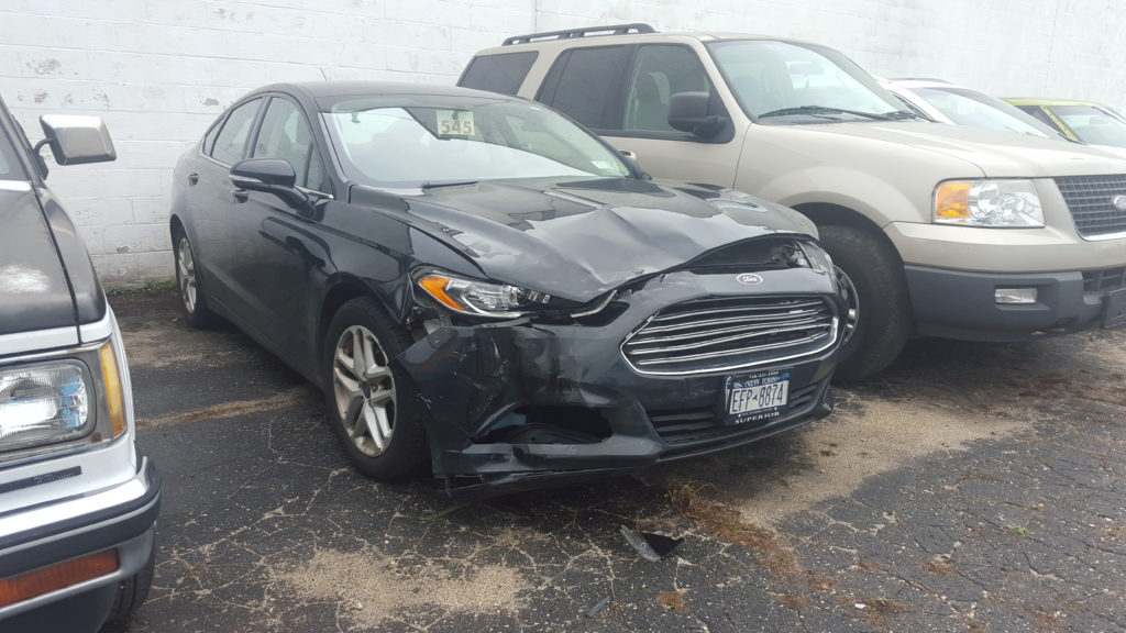 A vehicle that was badly damaged in an auto accident